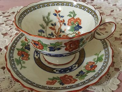 Atlas Bone China Pedestal Cup And Saucer England   Flowers/dragon