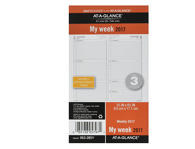 """Day Runner Weekly Planner Refill 2017, 3-3/4 x 6-3/4"""", Size 3 (063-285Y) NEW"""