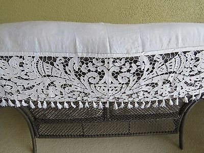 French Runner Fireplace Mantle Cover Richelieu Antique Vintage Cutwork Curtain
