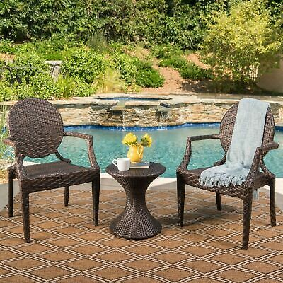 Chesterfield Outdoor 3 Piece Multi-Brown Wicker Chat Set with Stacking Chairs