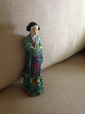 Beautiful Vintage Famille Lady Figurine Chinese Letters On Base