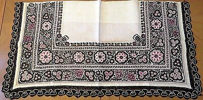 Antique Table Runner Embroidered Panel Handmade Blackwork Cutwork Embroidery