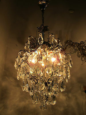 Antique Vnt French Cage Style Czech Crystal Chandelier Lamp Light 1940s 13in dmt
