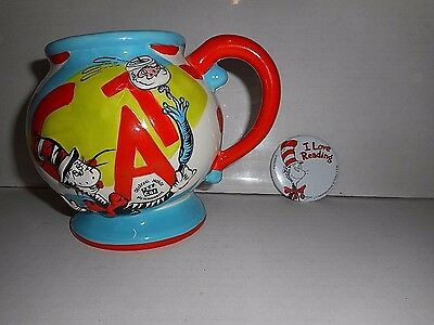 Dr. Seuss The Cat In the Hat Official Movie Mug 2003 + Love Reading Button 1996