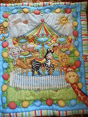 Bazoople design Hand sewn & Embroidered Cot Quilt, Springs design from USA