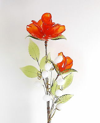 Orange Roses Crystal Glass Flower Lovely Decoration For Living Room Study Office