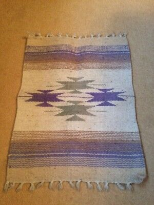 Native American Rug, 54x40cm Approx, Excellent Condition
