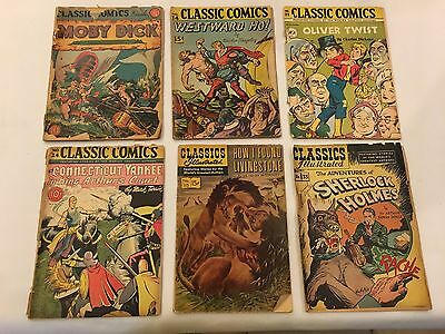 Classics Illustrated Lot of 6 Comics Tougher Key Issues **Vintage**