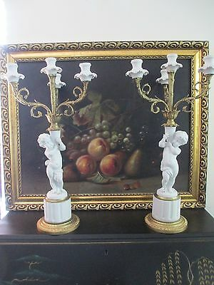 Pair French Sevres  Biscuit & Bronze  Candelabra . [ Signed  Falconet ]