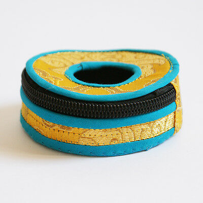 Tingsha Bells Manjira Cymbals Cover Brocade Yellow  & Turquoise Trim from Nepal