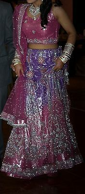 Authentic Manish Maholtra Pink & Lavender Indian Wedding Lengha