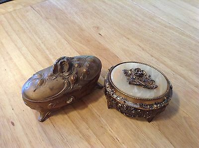 Vintage/Antique Brass Hinged Trinket Boxes, One Old, One Music Box