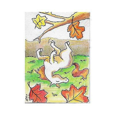 ACEO Original Horse Art Roll Meadow Walnut Autumn Fall Leaves Signed Drawing