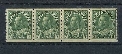 #128a DRy print coil strip 4, VF MNH Cat $235 Canada mint (lite toning at top)