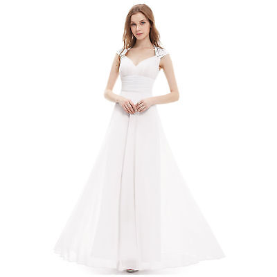 Formal Long Ball Gown Party Prom Cocktail Wedding Bridesmaid Evening Dress White