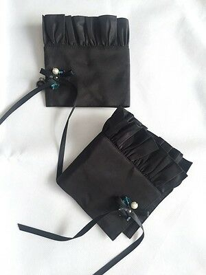 NIB 07C CHANEL Black Jewel Ruffle Silk Cuffs FR-38