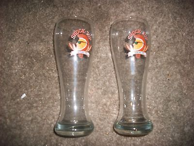 "set 2 Shock Top brewing wedgehead orange glasses mug cups 9"" beer man cave bar"