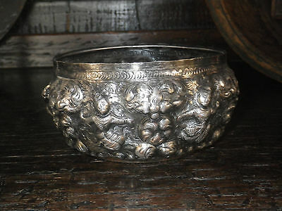 "Thai ""Songkran"" Water Festival Bowl FAIRY Repousse Engraved Silver Siam"