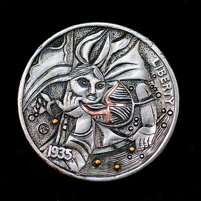 Hobo Nickel # HN17-083 (24K Gold & Copper inlay)by David HJ He(HJH)