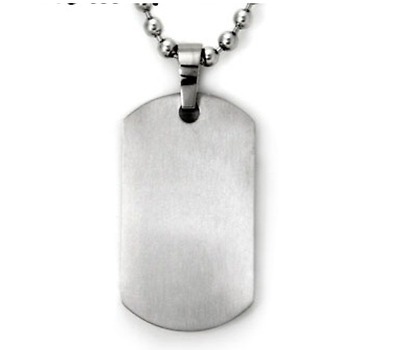 Titanium Stainless Steel  Military Army Necklace - Large Matt Dog Tag 50cm Chain