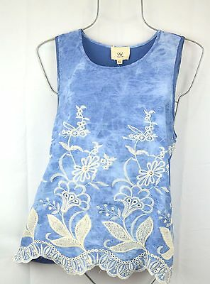 Women's XL Blue Stone Washed Embroidered Tank Top Sleeveless Blouse Shirt NEW