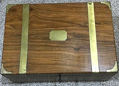 A Beautiful Antique Writing Slope With Brass Banding, Name Plate & Escutcheon
