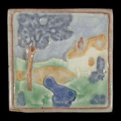 Vintage Cal Art Tile Co. Richmond California Pottery Quaint Cottage Bridge Scene