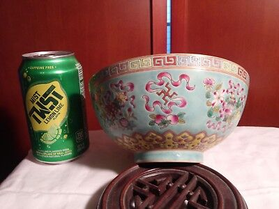 Chinese Famille Rose & Turquoise Ground Bowl and Buddha Symbols & 19th C.