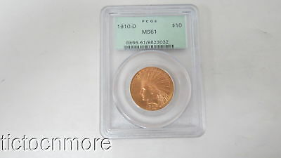 Us 1910-D $10 Indian Eagle Pcgs Graded Gold Coin Ms-61 Old Green Holder