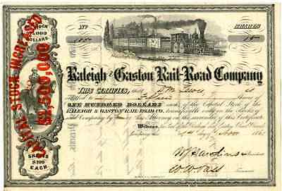 1861 Raleigh & Gaston RR Stock Certificate
