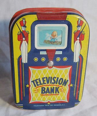 Antique Tn Litho Mechanical Childs Television Bank