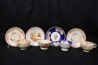 8pc Mixed Lot Antique Mid-19th Century CHINOISERIE & Lustre Cup & Saucer Set