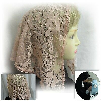 Lace Chapel Veil Mantilla Rose Color  Catholic Latin Mass Head Covering Small