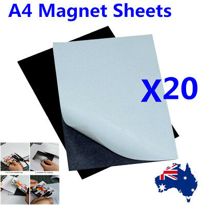 20pc A4 Magnet Sheet Magnetic Self Adhesive 1.0mm Thickness Hand Crafts Material