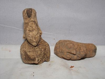 2 Antique Figurine-Faces-Pre Columbian-Olmec Pottery Mask?3 Inch-Aztec?mexico?#o