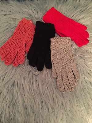 4 Pairs Vintage Crochet Ladies Gloves