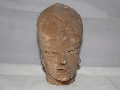 ANTIQUE PRE COLUMBIAN FACE-POTTERY-TRIBAL-AZTEC-MEXICO-5.5in-CHAPALA?MASK?NR#N