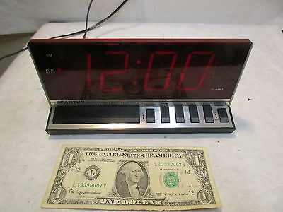 vintage Spartus 1150 Electronic Digital Clock Red LED Alarm Clock - working - NR