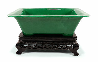 Vintage Chinese Green Peking Glass Planter Bowl With Carved Wooden Stand China