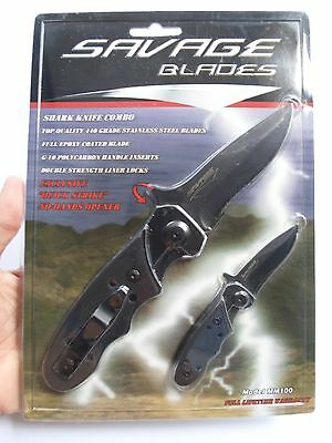 "Savage Blades Shark Knife Combo Set, ""Quick Strike"" No Hands Opener, G10 Inserts"