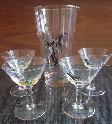 5pc vintage 1930s art deco COCKTAIL DRINKS SET - 4 pedestal stem glasses & Jug