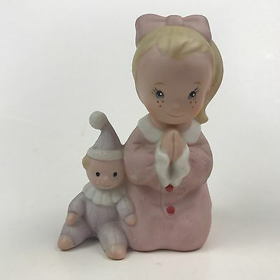 Homco Girl Praying with Clown Doll for Bedtime Figurine Vintage #1433 Child