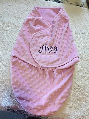 "Swaddle Blanket, Light Pink Minky Fabric, Monogrammed With ""Ava"""