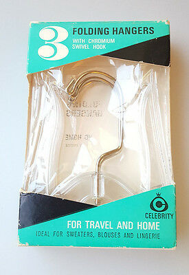 Vintage Celebrity folding clothes hangers for travel and home 3 in original pack