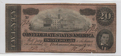 Civil War Confederate CSA T-67 $20 Note Obsolete Currency 1864 Tennessee Capital