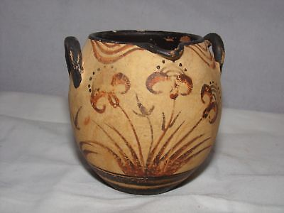 2 HANDLED POTTERY CUP-MUSEUM COPY?ANTIQUE?REDWARE-HAND PAINTED-MEXICO?3inch