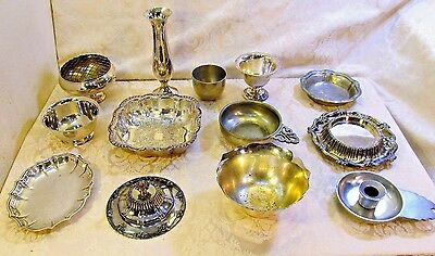 Lot of 13 Vintage Silverplated & Pewter Bowls Cups Trays Dishes Vases Brands