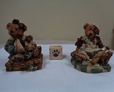 1993 Lot of 2 Boyds Bears Bailey Bear w/Suitcase 2225 & Homer On The Plate 2000