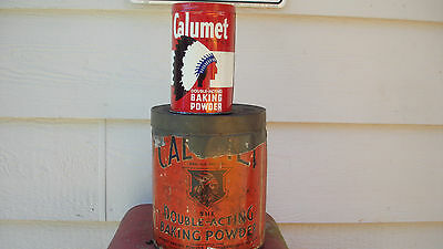 VERY OLD! 10 LB TIN FOR CALUMET BAKING POWDER w/ OLD Indian Chief logo COLLECT