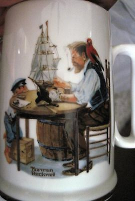 """1985 Norman Rockwell Museum Cup Mug """"For a Good Boy"""" Gold Trim"""